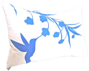 Limited Time Sale Royal Blue Print on Off White Cotton Hummingbird with Eucalyptus Rectangle Pillow
