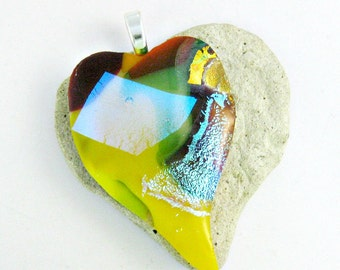 Fused Glass Jewelry / Yellow Heart Dichroic Pendant