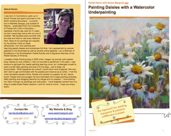 Pastel Painting Lesson Demo PDF DAISIES wildflowers with watercolor underpainting Art Tutorial  booklet