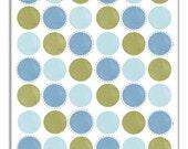 Olive Green And Light Blue Polka Dots Art Print. Shabby Polka Dot Pattern Toddler Art. Baby Nursery Decor. Little Boy Room Circles Wall Art.