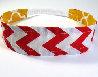 Reversible Fabric Elastic Headband - Mustard Quatrefoil / Red Chevron
