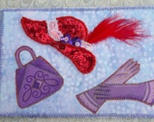 Postcard - Red Hat Purple Purse and Gloves