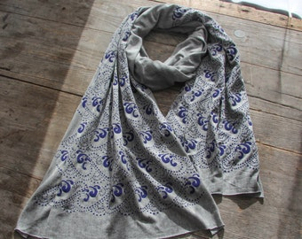 Soft and silky jersey knit bamboo-cotton scarf with hand-printed blue Waves pattern. Heather gray, light weight, gift, ocean, nautical Maine