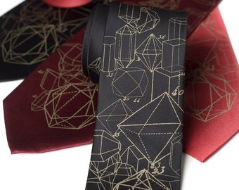 "Crystalline Formation Printed Silk Tie. Rock, geology screen print. ""Crystal Math."" Metallic antique brass print. Men's silkscreen necktie."