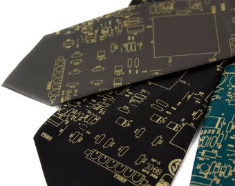 "Circuit board necktie, ""Resistor"" circuitboard design. Men's silkscreen tie, gold print. 100% silk. Computer science, electronics gift."