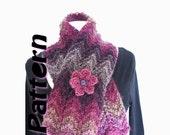 Chunky knit scarf pattern pdf, zig zag bulky scarf, wave scarf, easy knit scarf pattern, one skein, crochet flower