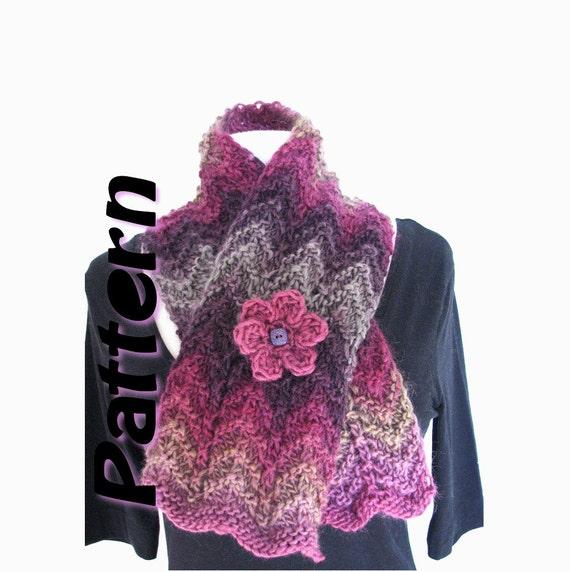 scarf pattern pdf, zig zag bulky scarf, wave scarf, easy knit scarf ...