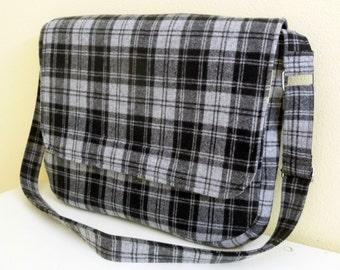 Grey and Black Plaid Wool Messenger Bag, Douglas Tartan Padded Laptop Bag