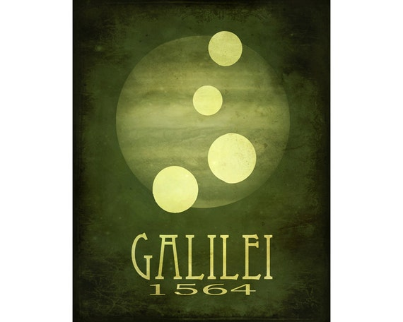 Galileo Galilei 11x14  - Rock Star Cosmic Pioneer Fine Art Astronomer Poster Print - Moons of Jupiter