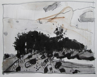 Wild Edge, Original Landscape Drawing in Paper, Stooshinoff