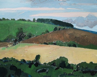 Ridge, Near Garden Hill, Original Landscape Painting on Paper, Stooshinoff