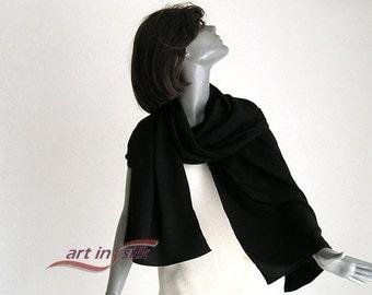 "Long Black Shawl, Evening Stole, Formal Scarf, Silk Crepe Wrap, 100% Pure Silk, Special Occasion 21"" X 72"", M Medium, L Large, Artinsilk"