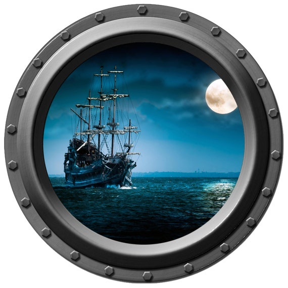 Pirate Ship By Moonlight Porthole Vinyl Wall By Wilsongraphics