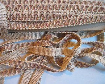 upholstery trim tan with bits of green and pink/3 yards