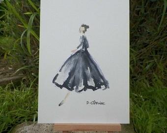 High Fashion Housewife Romantic Regency Lady Series Watercolor Print Woman in Gown Dress Fashion Art Original by Artist Debra Alouise