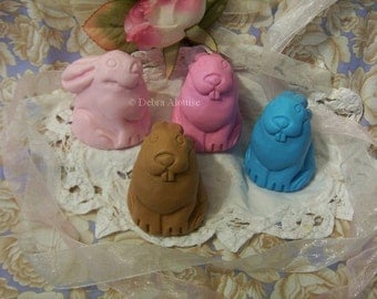 Worlds Cutest Bunny Rabbit Silicone Soap Mold Candle Mold Beeswax Craft Molds