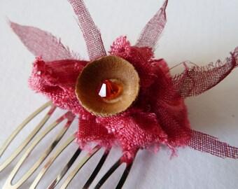 Acorn cap & crystal hair comb with hemp and silk