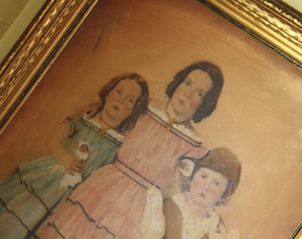 Large Framed Portrait.  Stone faced children.