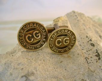 The Gables - Authentic Vintage Antique 1944 Coral Gables Florida Transit Token Cufflinks, Man Gift, Mens Gift, Groomsman Gift