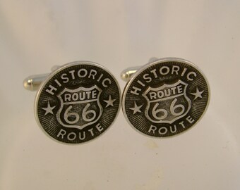 The Mother Road  - Vintage Route 66 Button Cufflinks, Man Gift, Wedding, Groomsman Gift