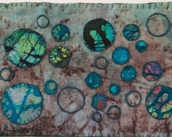 BATIK Fiber art turquoise blue teal black violet round original textile appliqued embroidered primitive abstract wall art frameable OOAK
