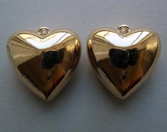 Vintage large puffed heart pendant
