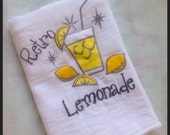 Cotton Dish Towel - Genuine Flour Sack Towel - Embroidered Retro Lemonade OR Pink Lemonade