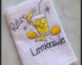 Cotton Dish Towel - Genuine Flour Sack Towel - Embroidered Retro Lemonade OR Pink Lemonade