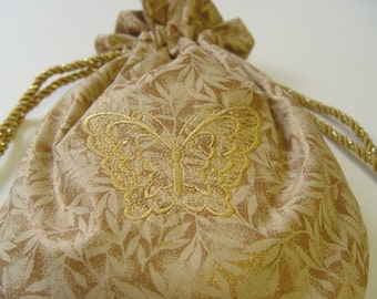 purse handbag mother of bride drawstring bag gold butterfly