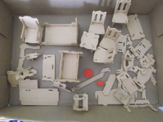 Balsa wood dollhouse furniture kit ready to assemble