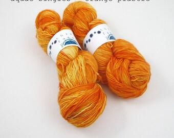 orange plastic - aquae singles, fingering weight sock yarn