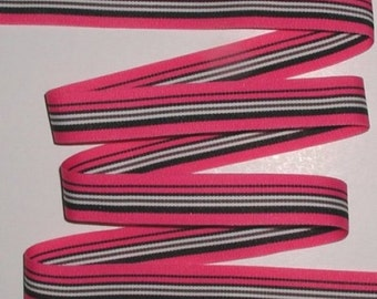 Hot Pink And Black Stripes Grosgrain Ribbon White Striped Trim 5 Yards 7/8 Wide cbseveneight