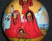 """Hand-Painted Gourd Christmas Ornament by Artist Sandy Short """"RED NATIVITY"""" design DECORATION."""