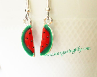 Watermelon Earrings. Enameled metal charm are Petite, small, light weight and on hypoallergenic surgical steel hooks