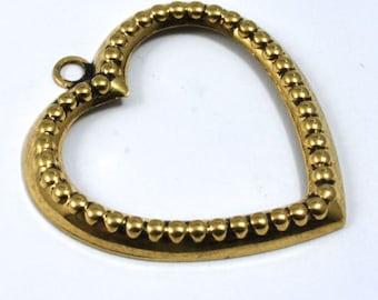25mm Raw Brass Dotted Open Heart Charm (2 Pcs) #1313