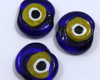 20mm Cobalt and Yellow Evil Eye Bead (4 Pcs) #734