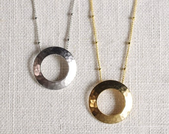 hollow moon // hammered circle necklace . open circle necklace . silver or gold textured circle necklace . hammered pendant necklace