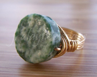 Tree Agate. Dendritic Agate Ring. Green Agate Ring. Wire Wrap Ring. Custom Wire Ring.