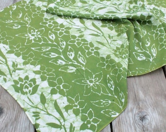 moss green flowers silk/cotton batik scarf