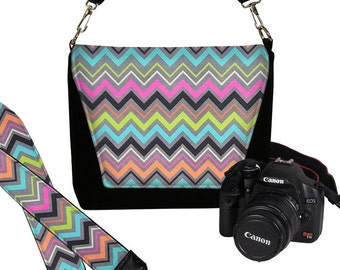 SET Chevron Dslr Camera Bag and Dslr Camera Strap, Camera Bag Slr and Camera Neck Strap, colorful pink gray orange aqua MTO