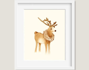 Watercolor Painting - Reindeer Painting - Watercolor Reindeer - 8 by 10 print - Archival Print, Minimalist, Home Decor, Animal Art