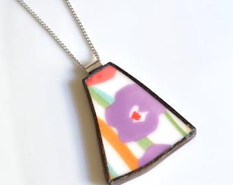 Broken China Jewelry Pendant - Purple Flower