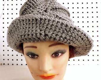 Gray Crochet Hat,  Gray Womens Hat Trendy,  Mothers Day Gift,  Gift for Mom,  Gift for Mother,  Virginia Gray Wide Brim Hat,  Gray Hat