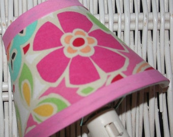 ON SALE Nightlilght Kids PB Petite Paisley Pop Pink Aqua Blue  handmade with Pottery Barn Kids fabric