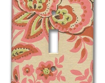 1960's Vintage Hippie Chic Orange, Pink, Green on Cream Floral Paisley Wallpaper Single Switch Plate