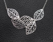 leaves necklace - solid sterling silver filigree leaves necklace