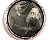 Skeletons in Love Pill box Pill Case Holder Pillbox Victorian Era Skeleton Marriage Zombie
