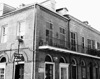 black and white new orleans street photography, french quarter wall art, brick architecture art, living room wall art