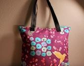Purple Bird Zipper Tote Bag