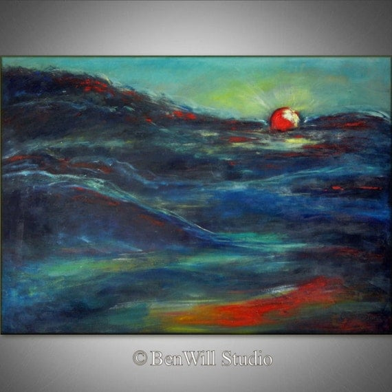 ORIGINAL Modern Abstract Oil Painting SUNRISE Art Colorful Turquoise Blue Sky - Inspirational Art on Canvas 40x28 by BenWill